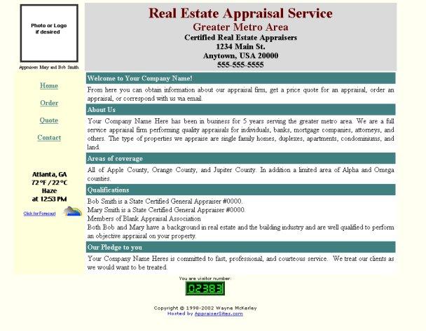Free Web Designs u2013 AppraiserSites - appraisal order form
