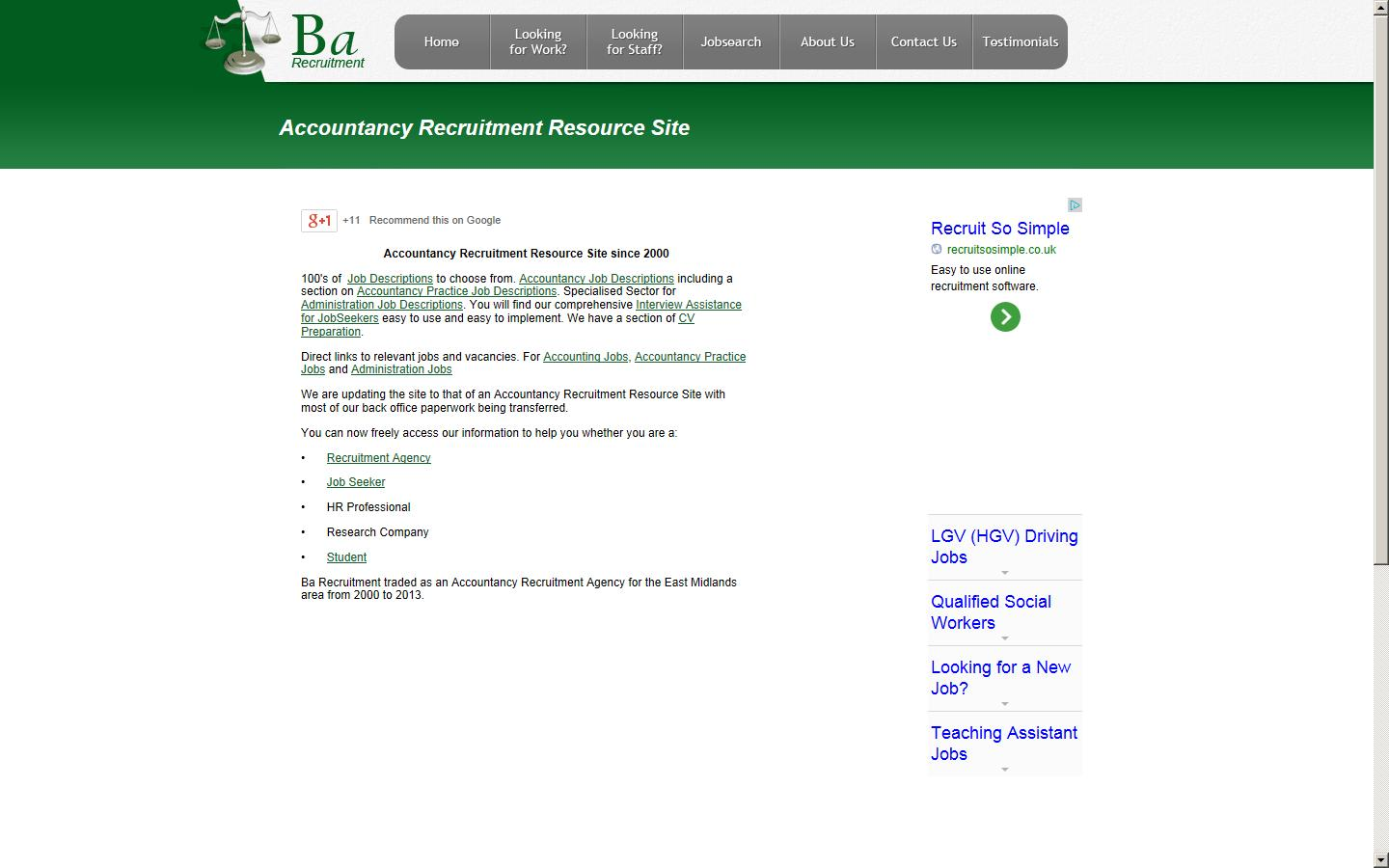 Accountancy Recruitment Agencies Ba Recruitment Ltd Belper Derbyshire De56 1qa