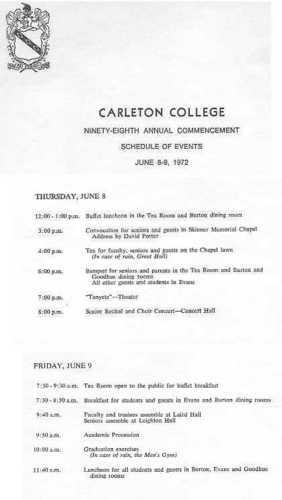 Graduation Program Class of 1972 Carleton College