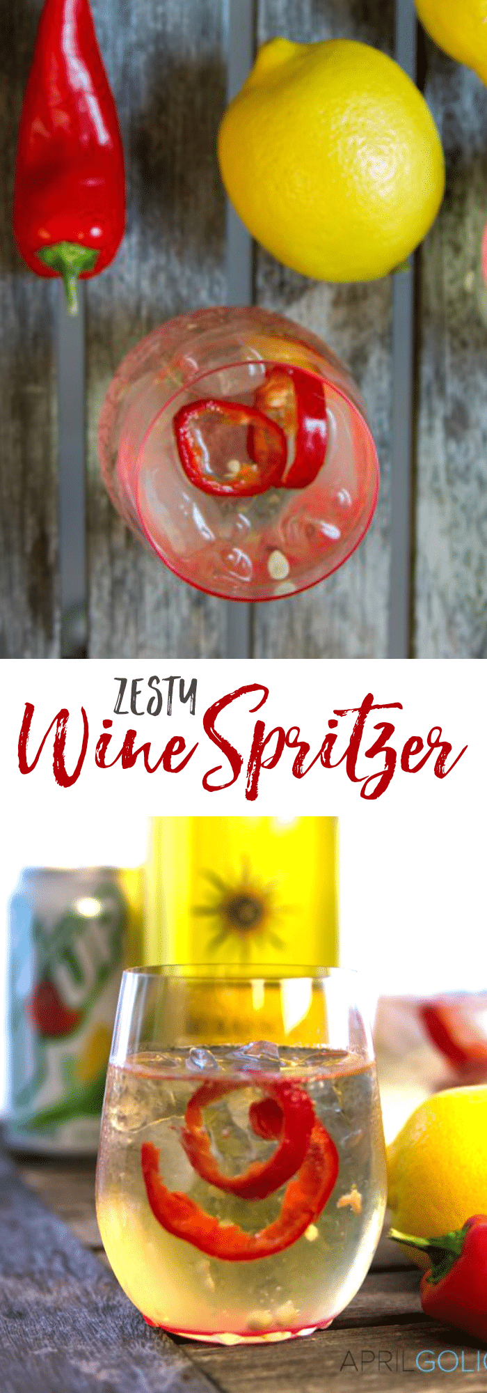 Easy Zesty White Wine Spritzer Recipe with Mirrasou Chardonnay, sprite, red chili peppers, and lemon making it a little spicy