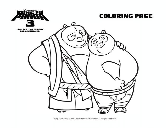 Kung Fu Panda 3 Coloring Sheets Free Printables Po and Dad