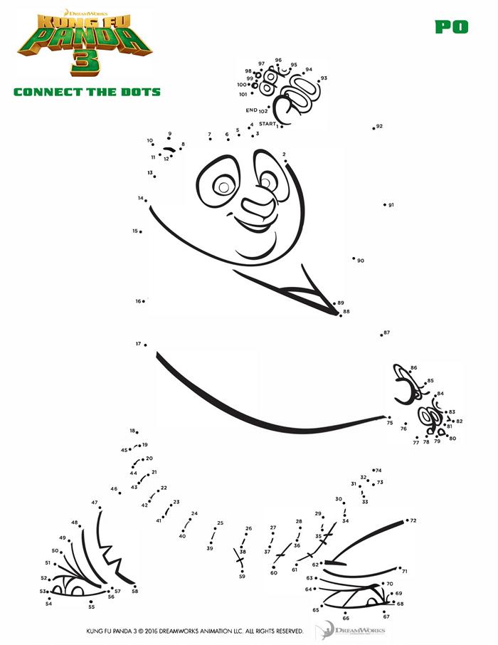 Kung Fu Panda 3 Coloring Sheets Free Printables Connect the Dots
