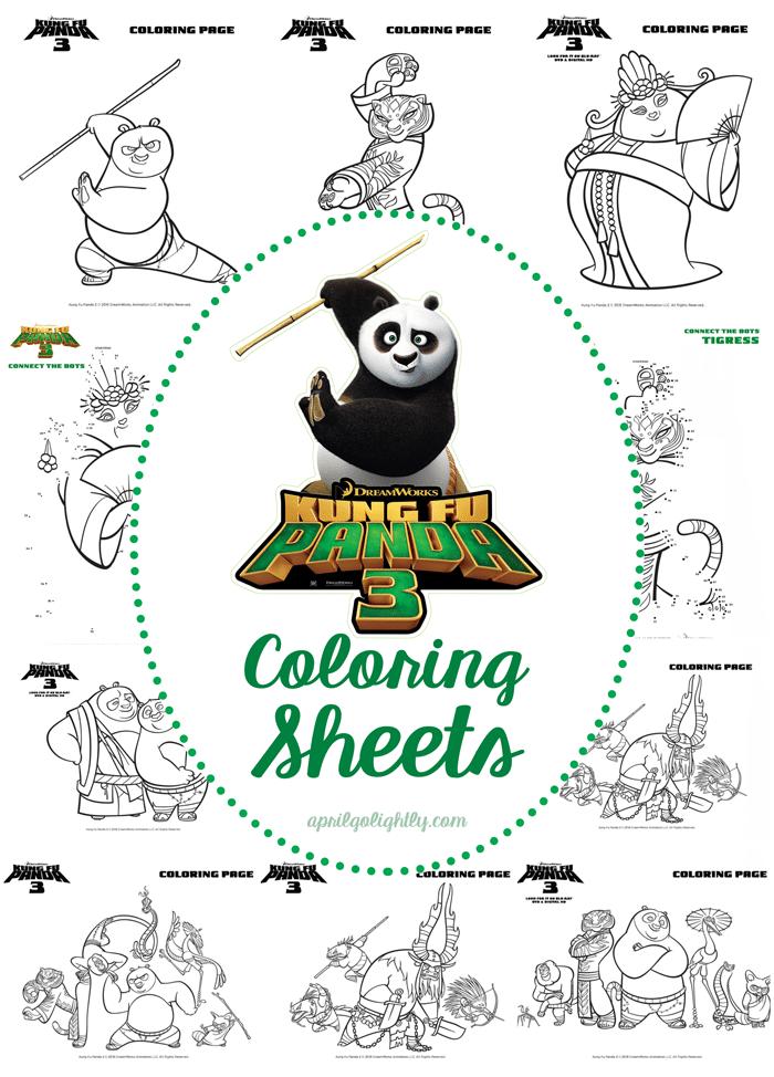 Kung Fu Panda 3 Coloring Sheets Free Printables and Connect the Dots activity sheets