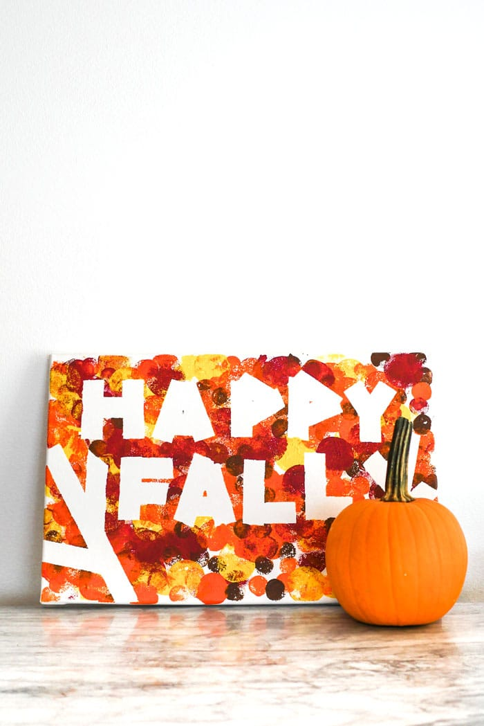 Happy Fall DIY Painting on canvas ideas for home decor using acrylic paint and foam brushes for kids, toddlers, and adults
