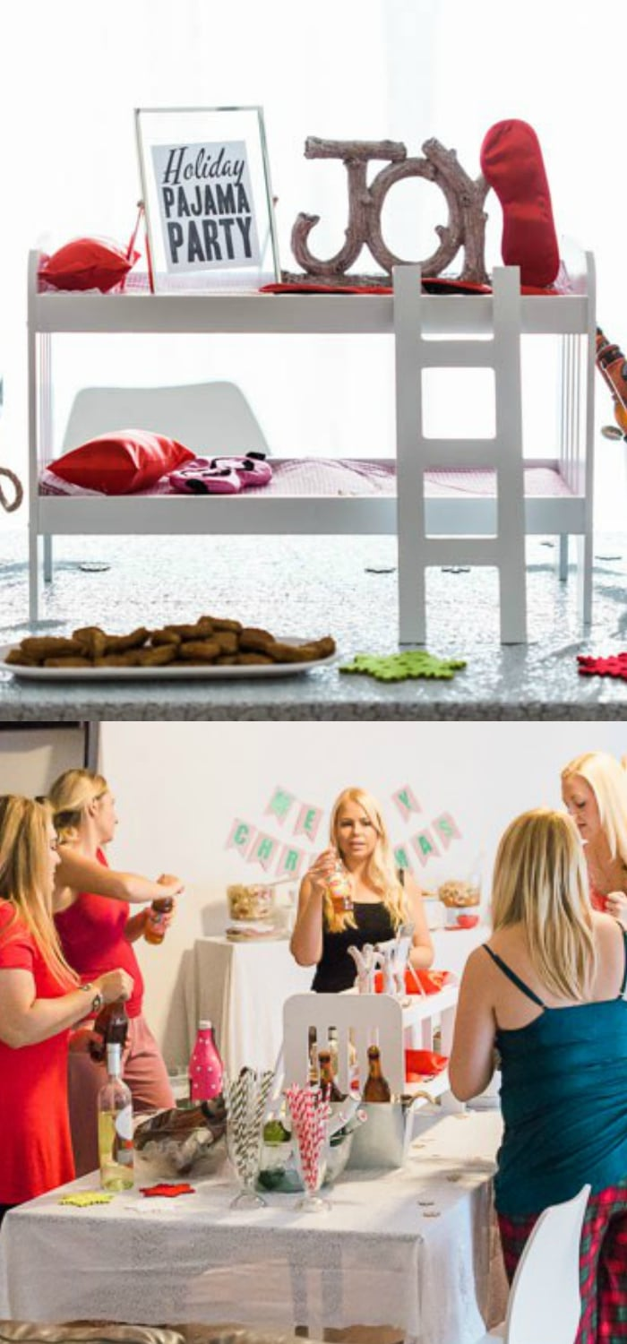 Holiday Pajama Party - this Grown Up Christmas party has party decoration ideas, food and drink menu with cocktails and recipes