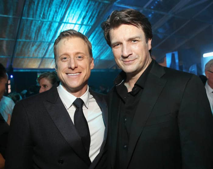 "HOLLYWOOD, CA - DECEMBER 10: Actors Alan Tudyk (L) and Nathan Fillion attend The World Premiere of Lucasfilm's highly anticipated, first-ever, standalone Star Wars adventure, ""Rogue One: A Star Wars Story"" at the Pantages Theatre on December 10, 2016 in Hollywood, California. (Photo by Jesse Grant/Getty Images for Disney) *** Local Caption *** Alan Tudyk; Nathan Fillion"