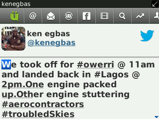 One of the screen grabs of Egbas' tweets