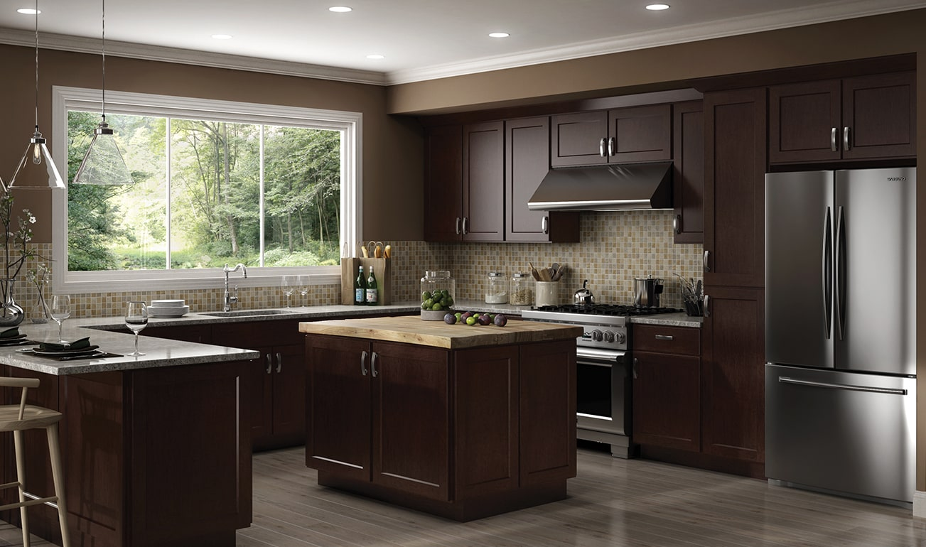 Cnc Country Luxor Espresso Kitchen Cabinets Affordable Top Design