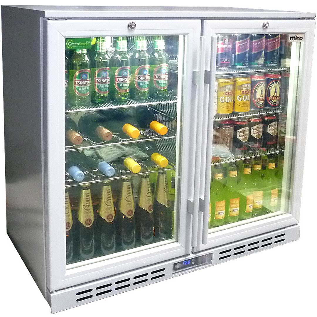 Bar Fridges Brisbane Rhino Glass 2 Door Silver Commercial Bar Fridge With Low E Glass