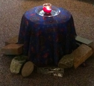 The bricks and stones around the table represent the greatest emotional and spiritual weights each of us brought into the dialogue.