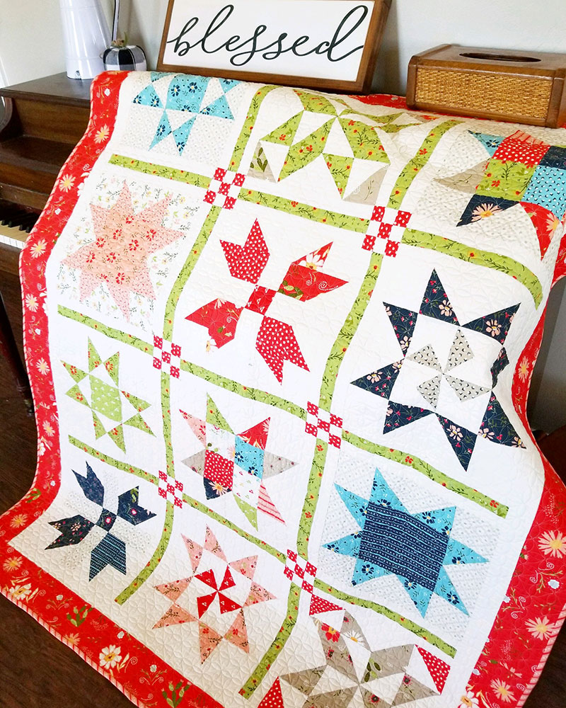 Pinterest Christmas Quilted Wall Hangings Garden Stars Sampler Quilt Pattern A Quilting Life