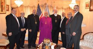 قداسة البطريرك مار ﮔﻴورﮔﯾس الثالث صليوا يستقبل كاهن وأعضاء لجنة رعية مار ماري الرسول في مدينة يونكرس بولاية نيويورك