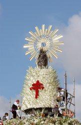 La Virgen del Pilar en la Ofrenda de Flores.