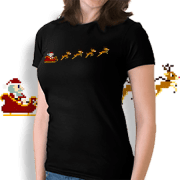 8-bit Christmas Santa and reindeer t-shirt.