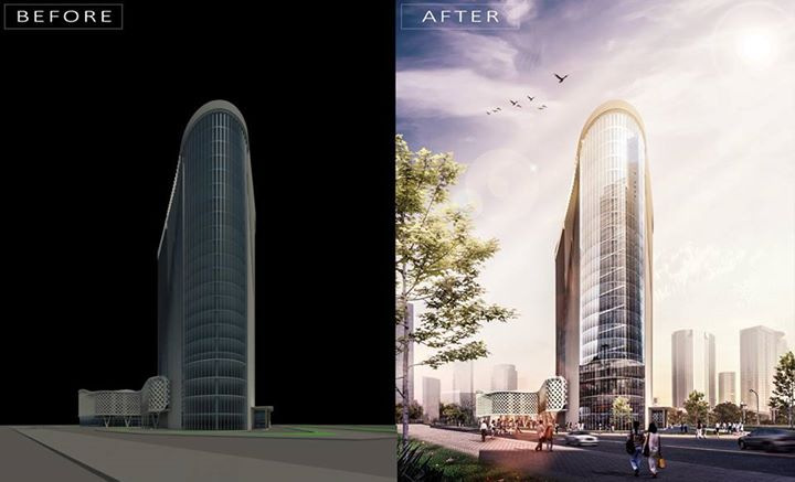 Architektur Rendering Tips Office Building Before & After Rendering | Arch-student.com