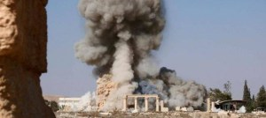 Image published by the Islamic State (IS) of what appears to be the destruction of the Temple of Baalshamin at the ancient ruins of Palmyra in Syria, after BBC website 25 August 2015