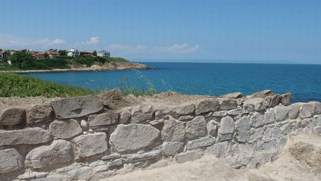 """The ruins of the Late Antiquity and Early Byzantine fortress of Talaskara on the Black Sea Cape Chervenka, also known as Chrisosotira, or """"Golden Savior, Golden Christ"""