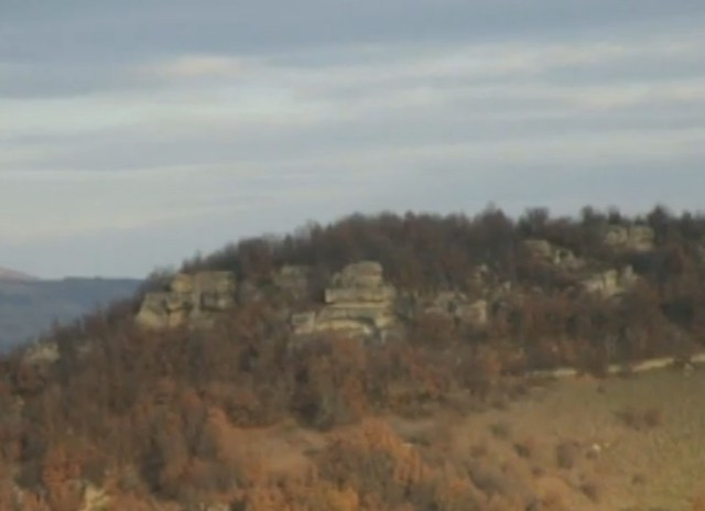The Thracian rock pyramid as viewed from a distance. Photo: TV grab from BNT 2