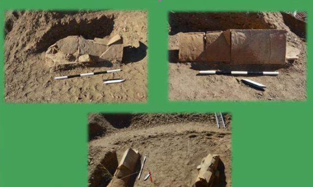 Two of the three graves from the Late Roman period found at the Ostrusha Tomb near Bulgaria's Kazanlak and Shipka. Photo: Archaeologist Meglena Parvin / TV grab from PressTV