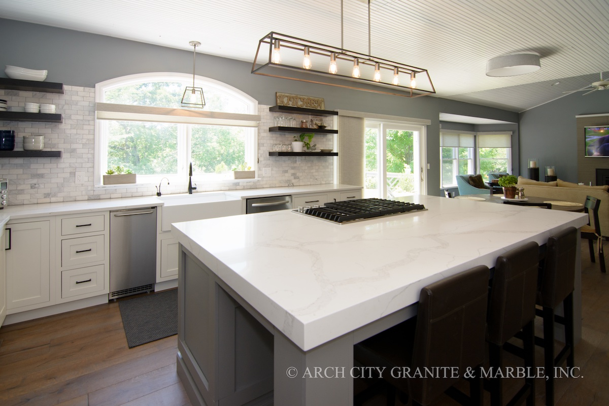 Granite Kitchen Countertops With White Cabinets The Most Popular Quartz Countertop Colors In 2018