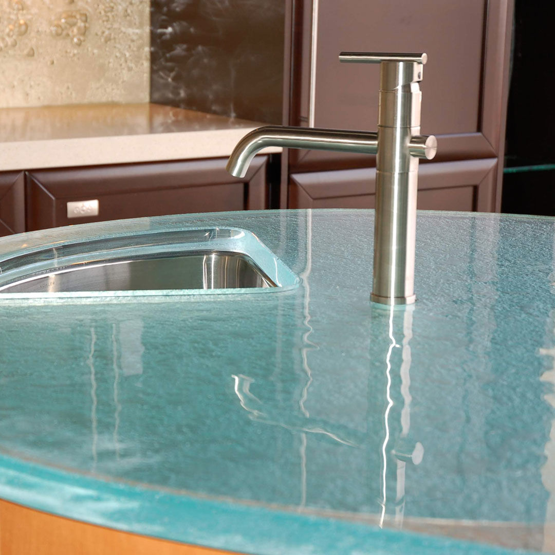 Think Glass Countertops Round Glass Countertops By Thinkglass Inc Archello