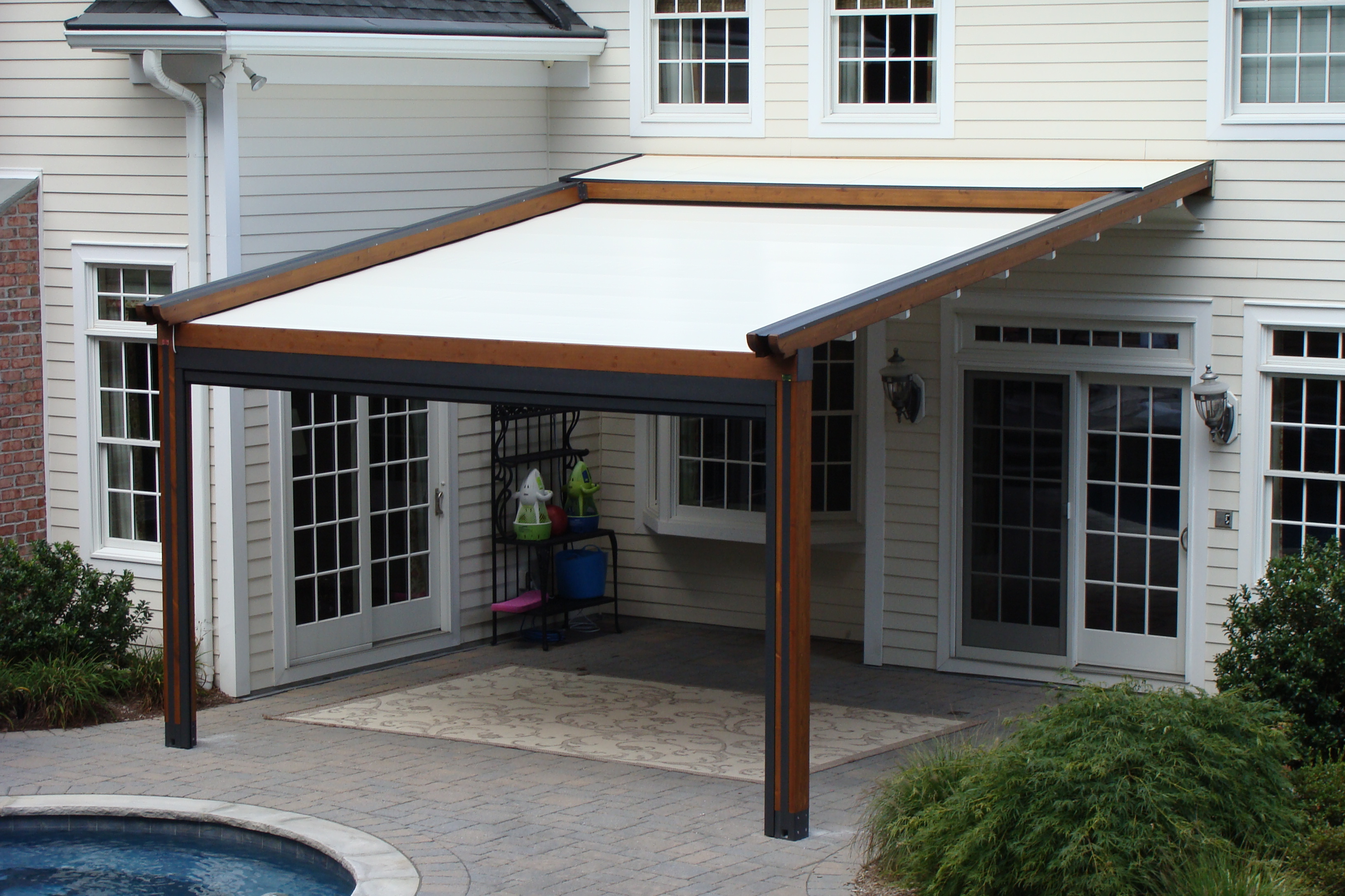 Cover Patio Pergola Private Residence Landscape Pool And Patio Application Northern