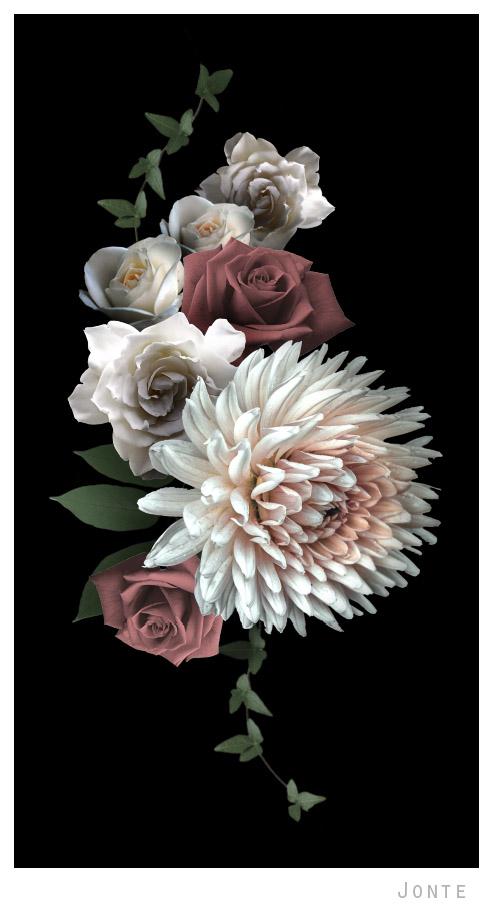 Black And White Floral Wallpaper Dark Flowers Wallpaper Pattern Jonte C O A H O C