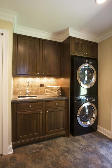 Stacked Cabinets Efficient Use Of The Space- 19 Small Laundry Room Design Ideas