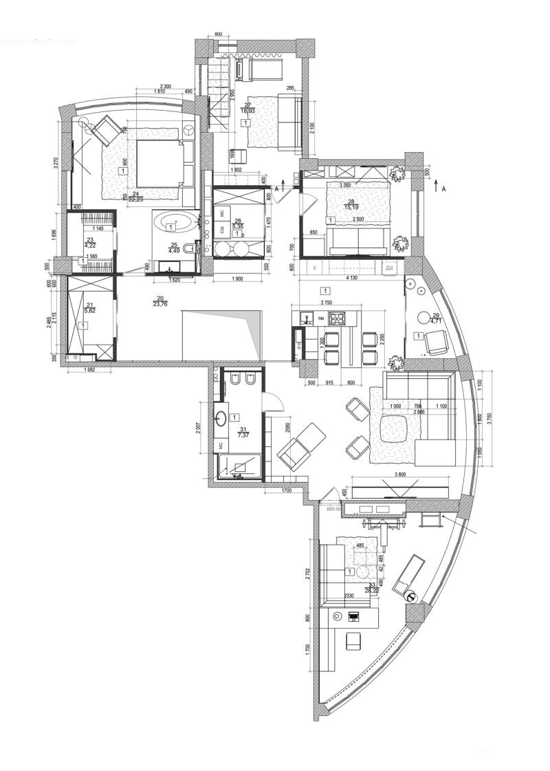 Large Of Modern Apartment Floor Plan