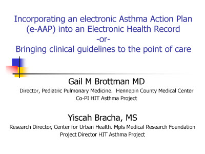 Incorporating an Electronic Asthma Action Plan (e-AAP) into an - sample asthma action plan