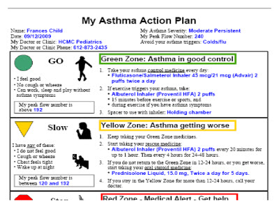 Asthma Action Plan Asthma Action Plan The American Academy Of - sample asthma action plan