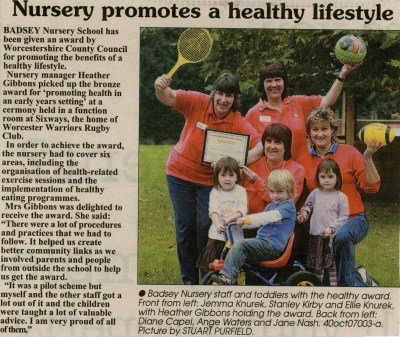 News article 2007 Oct 19 - Nursery promotes a healthy ...