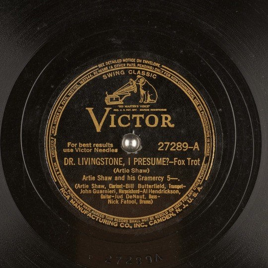 Dr Livingstone, I Presume?  Artie Shaw and his Gramercy 5  Free