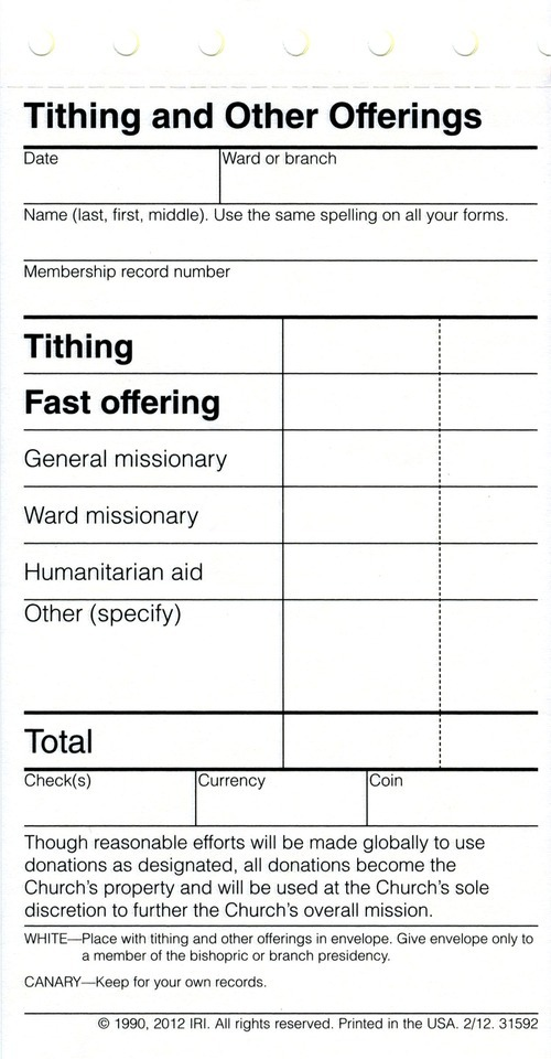 Next time Mormons pay tithing, they may notice something new - The - pay in slips