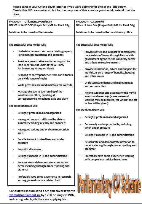 Parliamentary CV Scheme feedback Application advice from staff \u2013 w4mp - how to do a cv for a job