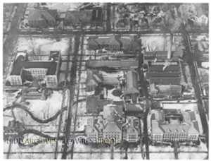 Aerial view of the Engineering campus, ca. 1930, RS 39/2/22.
