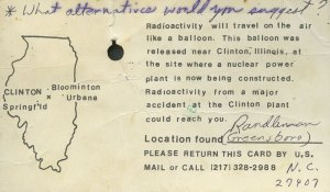 Completed and returned balloon card released at the Clinton nuclear power plant, April 1, 1978.