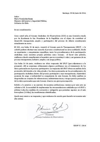 Carta con solicitud al Ministro del Interior y Seguridad Pública