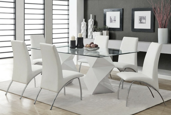 Lot 4 Chaises Blanches Table Chaises Contemporaine