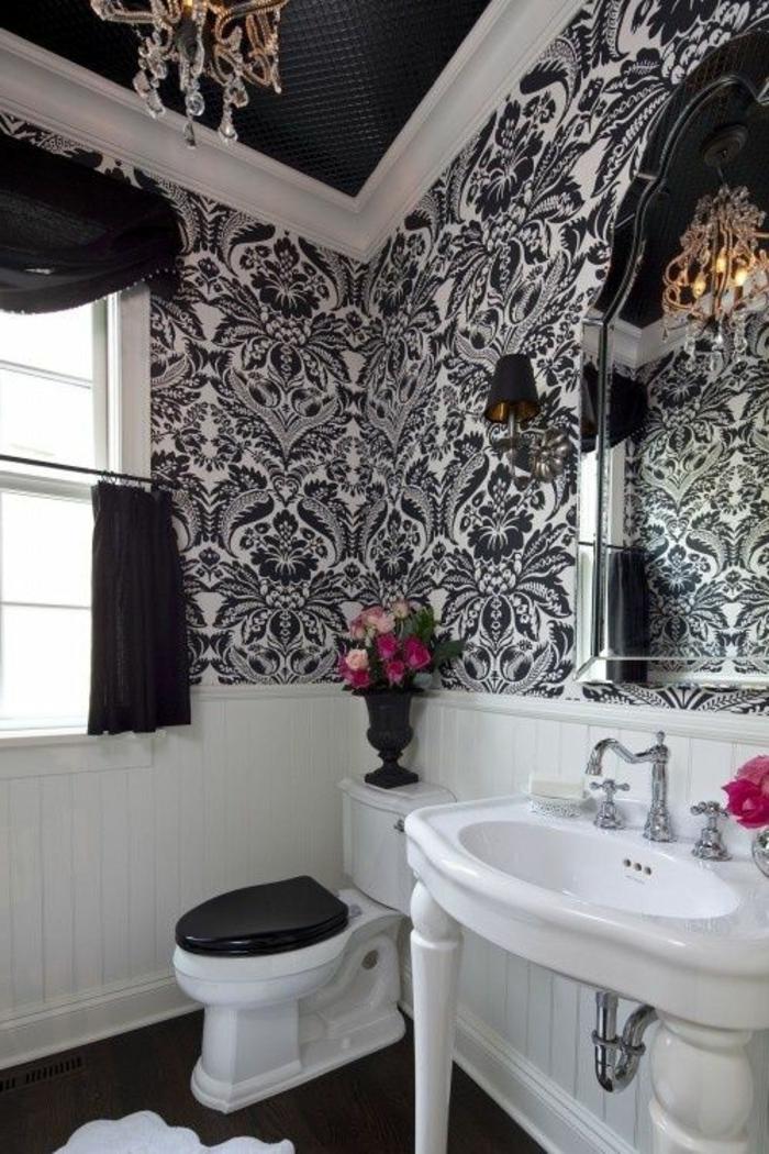 Black And Silver Wallpaper Le Th 232 Me Du Jour Est La Salle De Bain R 233 Tro