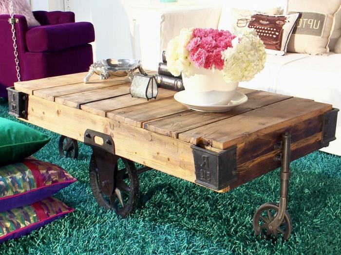 Table Salon Originale | Table Basse Sur Roulette Avec Box