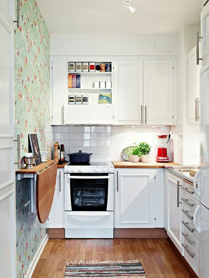 Small Kitchen Space Solutions Hang a Fold-Down Table on the Wall - amenagement cuisine ouverte salon