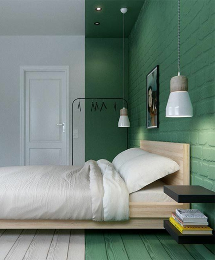 Décor do dia pintura verde e branca divide o quarto Quartos - couleur de la chambre