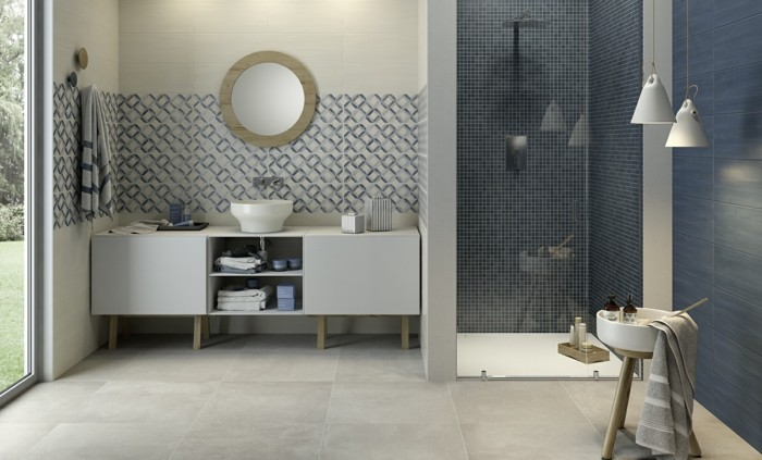 Idee Deco Salle De Bain Bleu Et Blanc