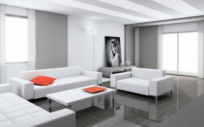 Deco Salon Carrelage Blanc   Un Salon En Gris Et Blanc, C\'est Chic ...