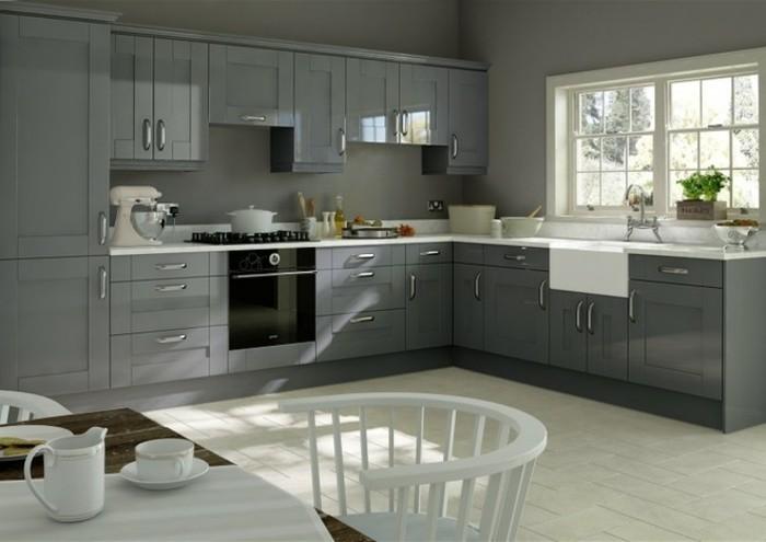 Perfect int iressante cuisine grise couleur mur grise for Quel carrelage pour cuisine