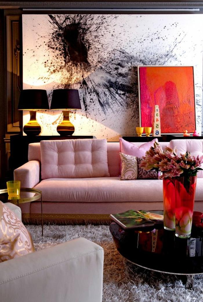Salon Gris Et Orange | Tableau Moderne Pole Nord - Izoa