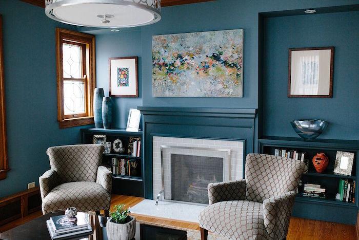 Salon Bleu Petrole Et Gris | Interieur Maison Sol Gris