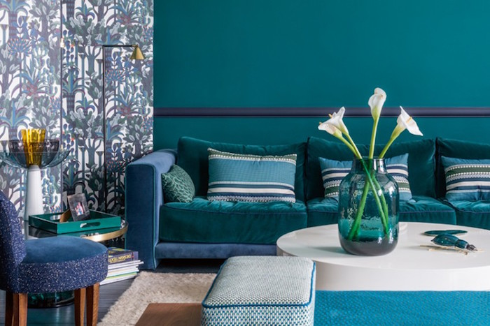 Mur Salon Bleu Canard | Déco Salon Bleu Pétrole Et Bleu Canard ...