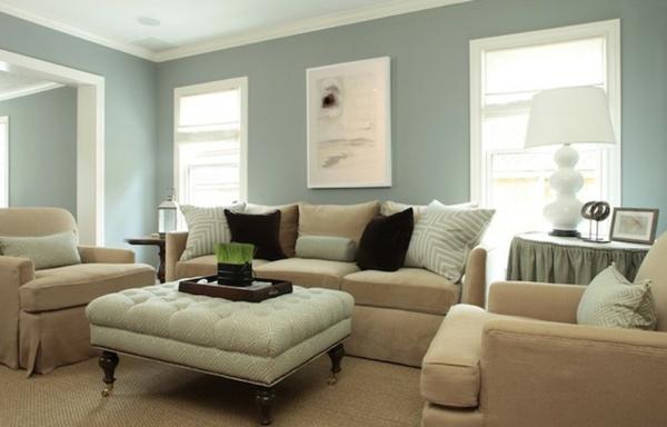 Moderne Dekoration Wohnzimmer Farbgestaltung Blau Grau Images - wohnzimmer farben fotos